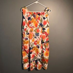 New Directions Sleeveless Dress White Floral